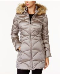 Jones New York - Faux-fur-trim Quilted Down Puffer Coat - Lyst
