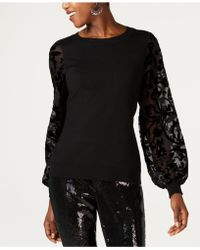 INC International Concepts - I.n.c. Velvet Burnout-sleeve Sweater, Created For Macy's - Lyst