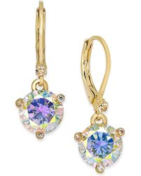 Kate Spade - Gold-tone Blue Crystal Drop Earrings - Lyst