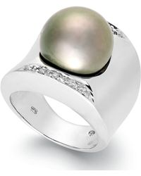 Macy's Tahitian Pearl (13mm) And Diamond (1/8 Ct. T.w.) Ring In Sterling Silver - Multicolour