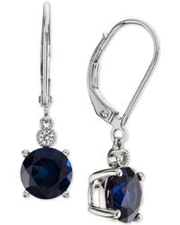 Macy's - Lab-created Sapphire (2-7/8 Ct. T.w.) & White Sapphire Accent Drop Earrings In Sterling Silver - Lyst