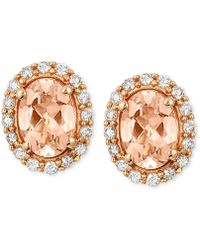 Le Vian - Morganite (1 Ct. T.w.) And Diamond (1/4 Ct. T.w.) Oval Stud Earrings In 14k Rose Gold - Lyst