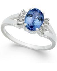 Macy's - Tanzanite (1-3/8 Ct. T.w.) & Diamond (1/8 Ct. T.w.) Ring In 14k White Gold - Lyst
