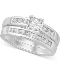Macy's - Diamond Princess-cut Bridal Set (9/10 Ct. T.w.) In 14k White Gold - Lyst