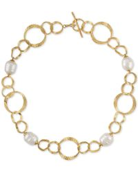 "Majorica - Gold-tone Imitation Pearl Circle Link 16"" Collar Necklace - Lyst"