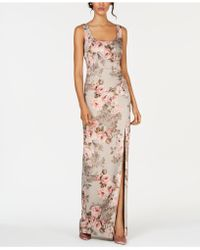 Adrianna Papell - Metallic Floral-print Gown - Lyst