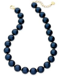 "Charter Club - Gold-tone Imitation Navy Pearl Collar Necklace, 16"" + 2"" Extender, Created For Macy's - Lyst"