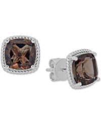 Macy's - Quartz Rope Frame Stud Earrings (8 Ct. T.w.) In Sterling Silver - Lyst