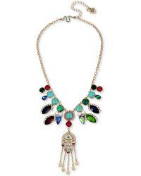 Betsey Johnson | Gold-tone Stone, Imitation Pearl & Pavé Hamsa Hand Statement Necklace | Lyst