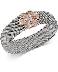 Macy's - Diamond Mesh Flower Bangle Bracelet (7/8 Ct. T.w.) In Sterling Silver And 14k Rose Gold-plate - Lyst