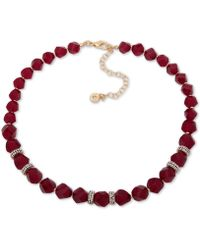 "Anne Klein - Faceted Bead & Crystal Collar Necklace, 16"" + 3"" Extender, Created For Macy's - Lyst"