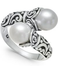 Macy's - Cultured Freshwater Pearl (8-1/2mm) Scrollwork Bypass Ring In Sterling Silver - Lyst