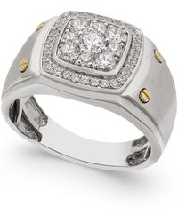 Macy's - Men's Diamond Cluster Ring (1 Ct. T.w.) In 10k White And Yellow Gold - Lyst