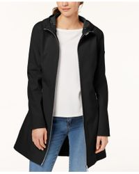 4d7ece8677c Lyst - Calvin Klein Petite Double-breasted Softshell Trench Coat in ...