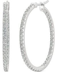 Charles & Colvard - Moissanite Large Hoop Earrings (1-1/10 Ct. Tw.) In 14k White Gold - Lyst