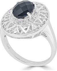 Macy's - Onyx (14 X 10mm) & Diamond Accent Ring In Sterling Silver - Lyst