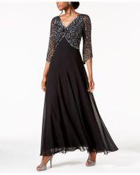 J Kara - Embellished 3/4-sleeve Gown - Lyst