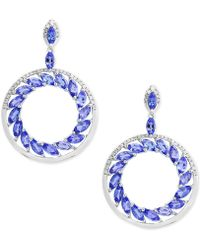 Effy Collection - Tanzanite (4-1/3 Ct. T.w.) And Diamond (1/3 Ct. T.w.) Drop Earrings In 14k White Gold - Lyst
