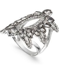 INC International Concepts - Silver-tone Pavé & Black Stone Ring, Created For Macy's - Lyst