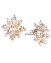 Marchesa - Pavé & Imitation Pearl Flower Stud Earrings - Lyst