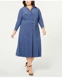 f922a84f1f8e4d Lyst - Tommy Hilfiger Plus Size Sleeveless Denim Shirtdress in Blue