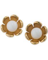 Trina Turk - Gold-tone Colored Stone Flower Stud Earrings - Lyst