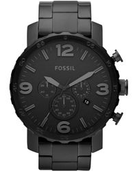 91035a263a6 Fossil - Men s Chronograph Nate Black-tone Stainless Steel Bracelet Watch  50mm Jr1401 - Lyst