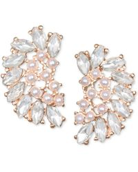 Badgley Mischka - Crystal & Imitation Pearl Arch Stud Earrings - Lyst