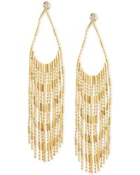 Guess - Gold-tone Crystal & Chain Fringe Chandelier Earrings - Lyst