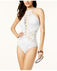 Becca - High-neck Illusion Crochet One-piece Swimsuit - Lyst
