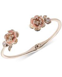 Marchesa - Gold-tone Crystal Flower Cuff Bracelet - Lyst