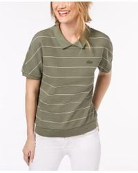 Lacoste | Striped Cotton Polo Shirt | Lyst