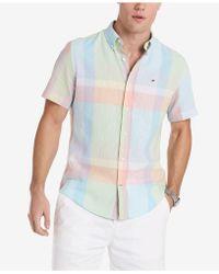 Tommy Hilfiger - Caldwell Custom-fit Pastel Plaid Shirt - Lyst