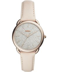 Fossil - Tailor Winter White Leather Strap Watch 35mm - Lyst