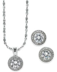 Charter Club - Silver-tone 2-pc. Set Crystal Halo Pendant Necklace And Stud Earrings Set, Created For Macy's - Lyst