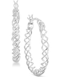 Giani Bernini - Sterling Silver Spiral Hoop Earrings - Lyst