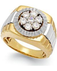 Macy's - Men's Diamond Two-tone Ring In 10k Gold (1 Ct. T.w.) - Lyst