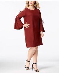 Love Scarlett - Plus Size Lace-up Sleeve Dress - Lyst