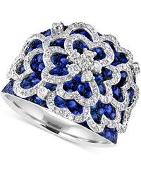 Effy Collection - Sapphire (2-5/6 Ct. T.w.) And Diamond (3/4 Ct. T.w.) Flower Ring In 14k White Gold - Lyst