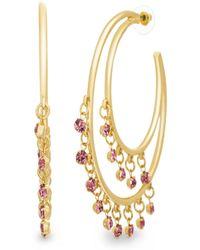 Catherine Malandrino - Pink Rhinestone Double Layered Yellow Gold-tone Open Hoop Earrings - Lyst