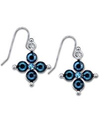 2028 - Silver-tone Dark And Light Blue Crystal Flower Earrings - Lyst