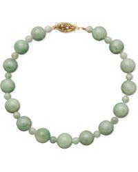 Macy's - 14k Gold Bracelet, Jade Bead Strand - Lyst