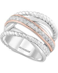Effy Collection - Diamond Rope Twist Ring (1/10 Ct. T.w.) In Sterling Silver And 14k Rose Gold - Lyst