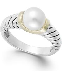 Macy's - Cultured Freshwater Pearl Rope Ring In 14k Gold And Sterling Silver (8mm) - Lyst