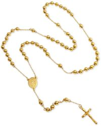 """Macy's - Beaded Cross Lariat 28"""" Necklace In Yellow Ion-plated Stainless Steel - Lyst"""