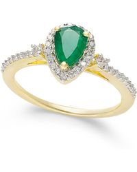 Macy's - Emerald (5/8 Ct. T.w.) And Diamond (1/4 Ct. T.w.) Ring In 14k Gold - Lyst
