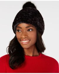 Lyst - Calvin Klein Ribbed Faux-fur Pom Pom Beanie in Brown 17476bc3d6c5