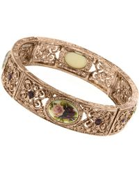 2028 - Rose Gold-tone Purple Crystal Flower Bracelet - Lyst