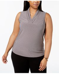 Anne Klein - Plus Size Pleated V-neck Graphic-print Shell - Lyst