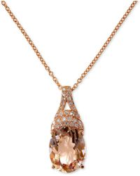 "Effy Collection - Effy® Morganite (2-1/2 Ct. T.w.) & Diamond (1/10 Ct. T.w.) 18"" Pendant Necklace In 14k Rose Gold - Lyst"